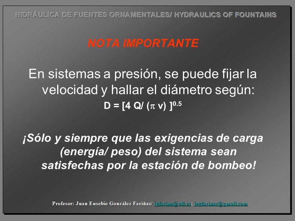 NOTA IMPORTANTE En sistemas a presión, se puede fijar la velocidad y hallar el diámetro según: D = [4 Q/ (p v) ]0.5.